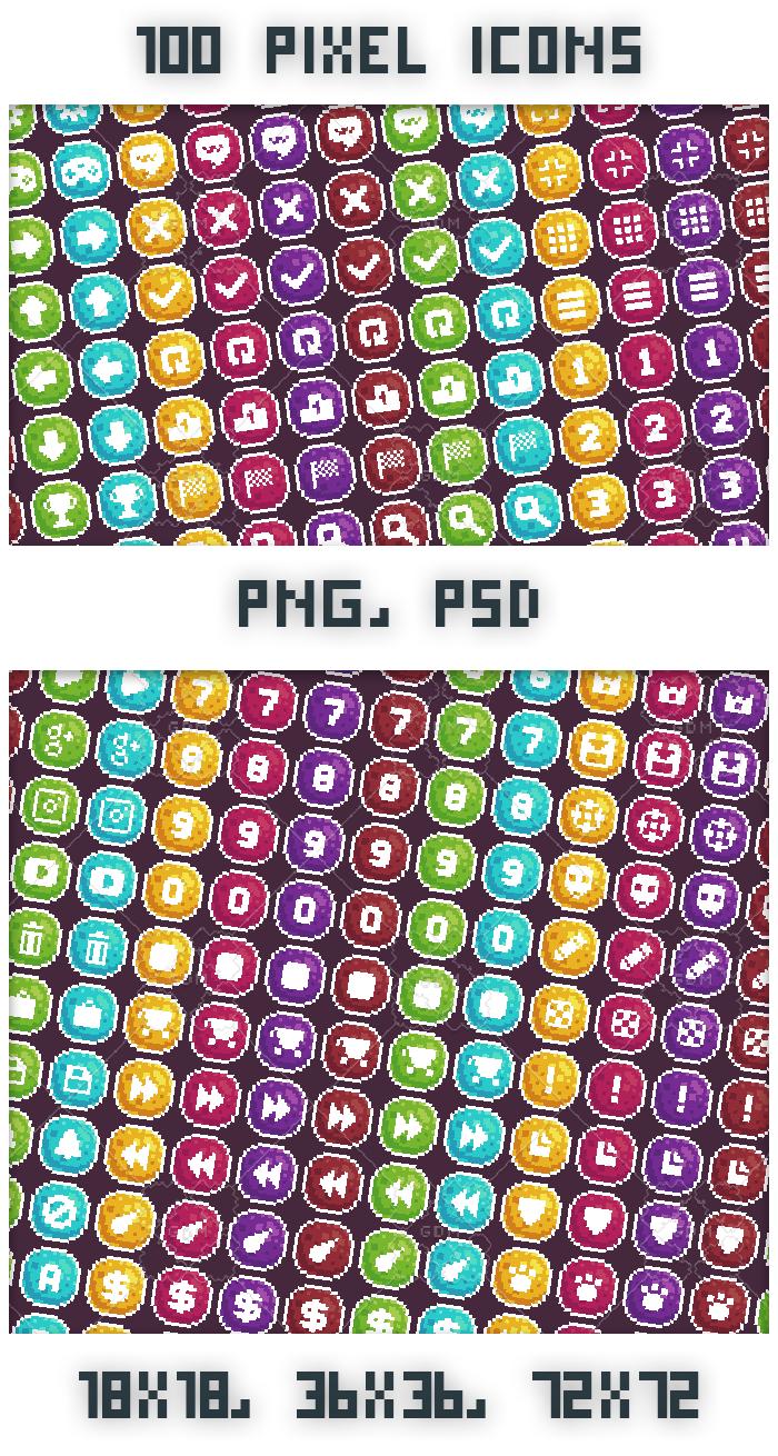 100 Pixel art icons