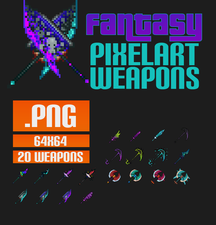 Fantasy Pixel Art Weapons
