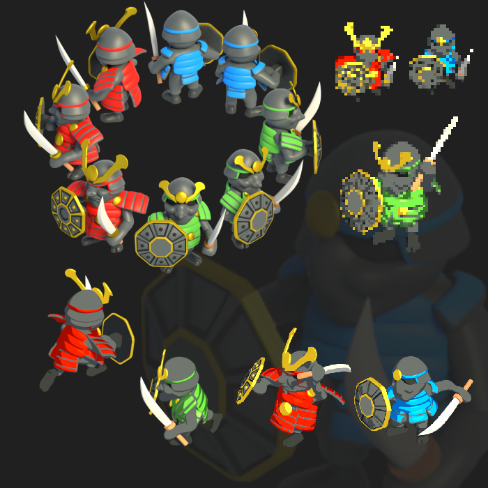 Samurai Cartoon – Isometric (8 Directions)