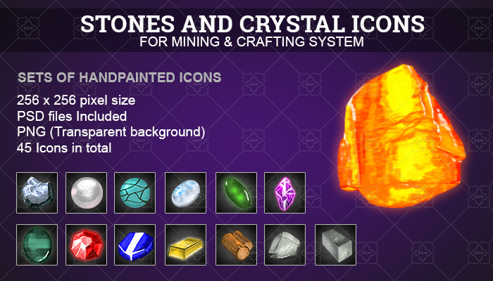 RPG Mining and Crafting icons set