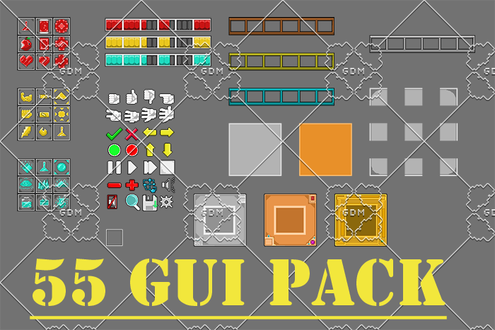 Pixel 2d game gui Pack 32×32