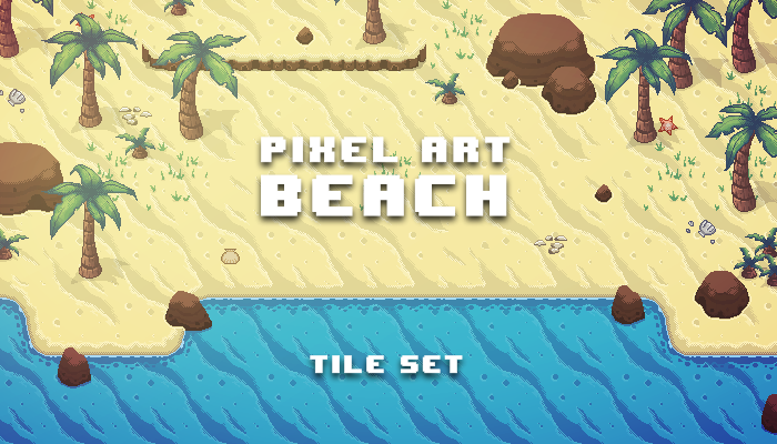 Pixel Art Beach Tile Set