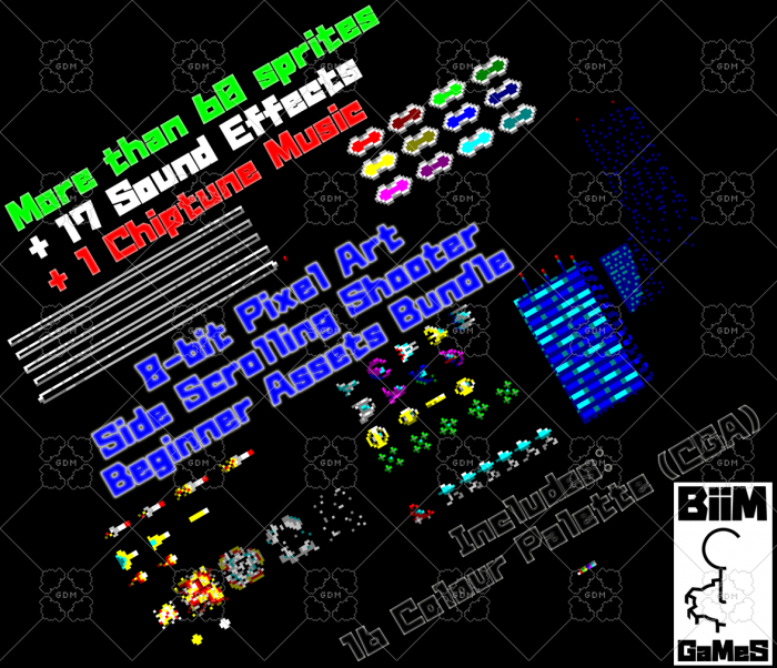 8-bit Pixel Art Side Scrolling Shooter Beginner Assets Bundle (Audio)