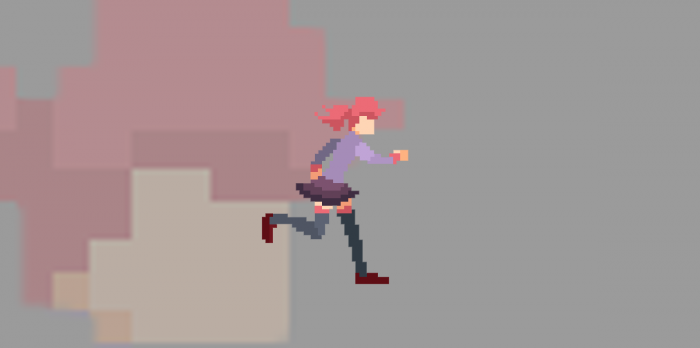Anime pixel art girl animated(only running)