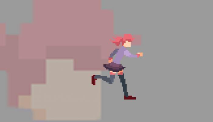 Anime pixel art girl animated(only running)