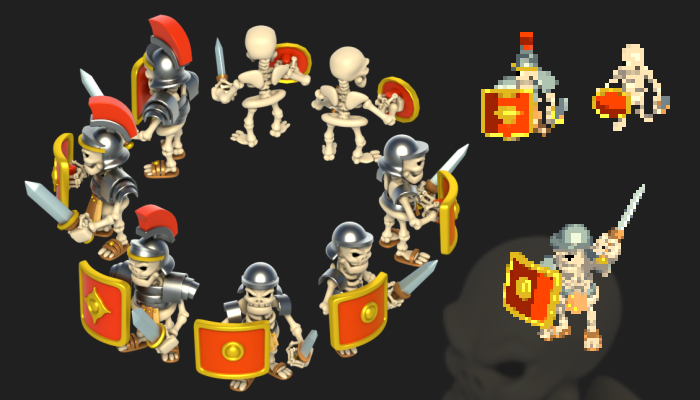 Skeleton (Roman Soldier) Cartoon – Isometric (8 Directions)