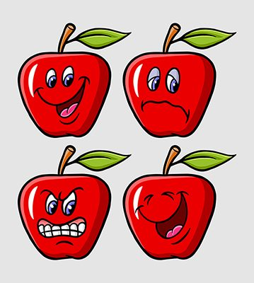 Apple expression cartoon character icons