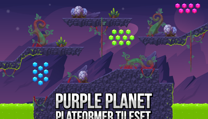 Purple Planet – Platformer Tileset