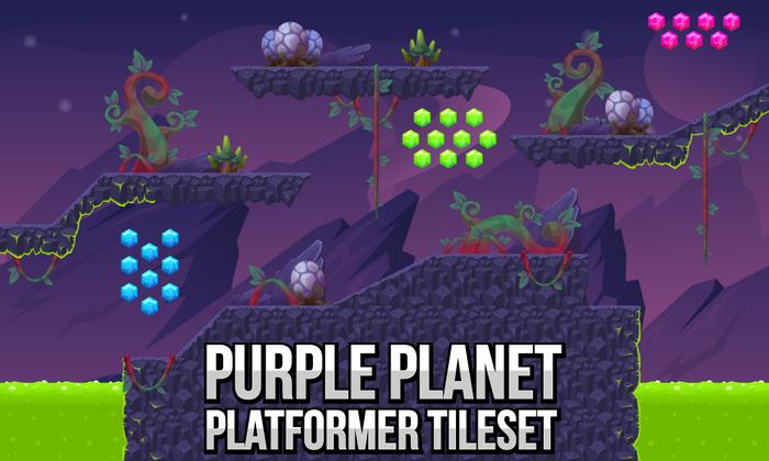 Purple Planet – Platformer Tileset