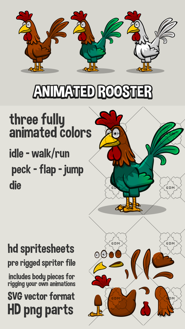 Animated rooster
