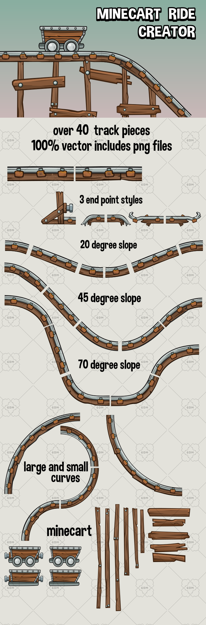 Mine cart track creator kit