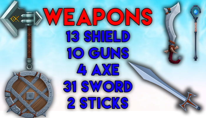 2d 31 swords,13 shield,4 axe, 2 stick,10 guns total 60 weapons hd quality