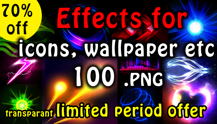 100 light effects for icon, background, powerups etc hd quality