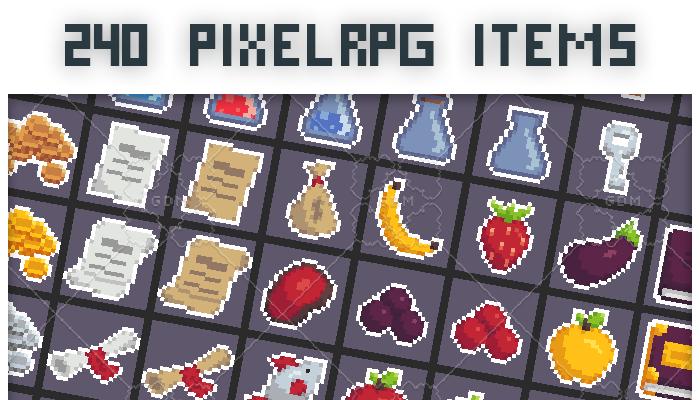 240 Pixel art RPG items