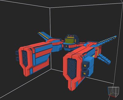Voxel 3D racing spaceship