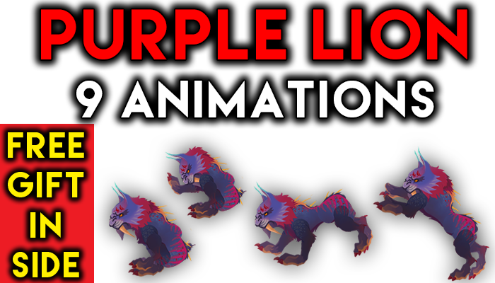 purple lion 9 animation with walk attack 2 sit idle run more