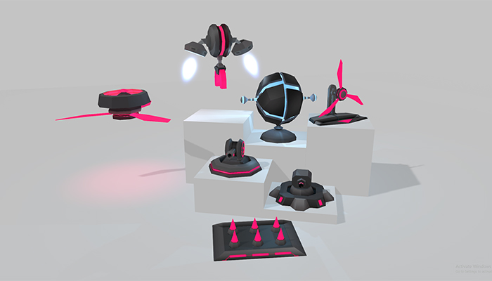 Low Poly Scifi Turrets
