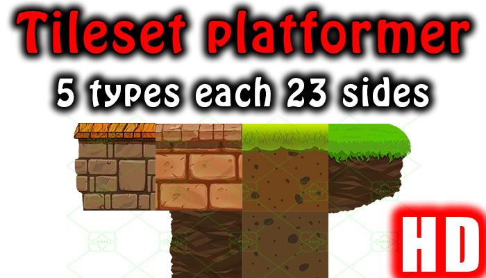 2D 5 tilesets 23 each form all side HD quality