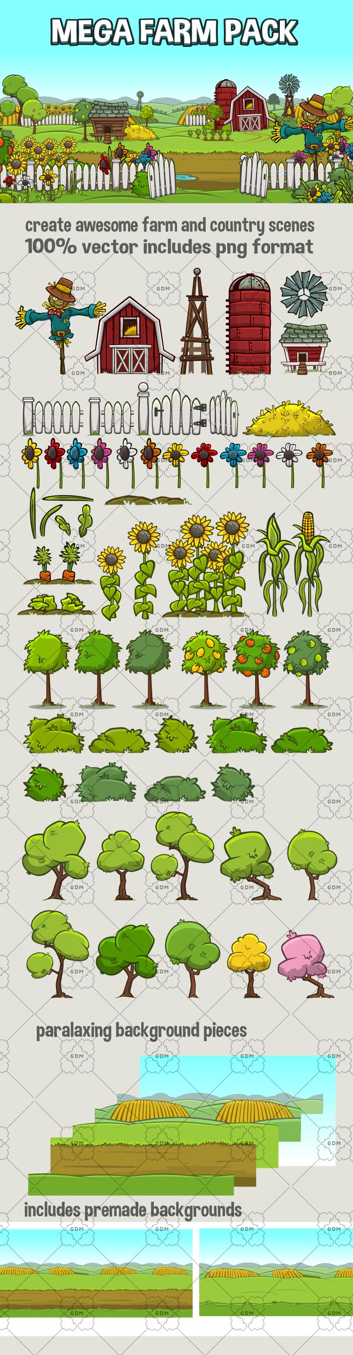 Mega farm scene creation pack