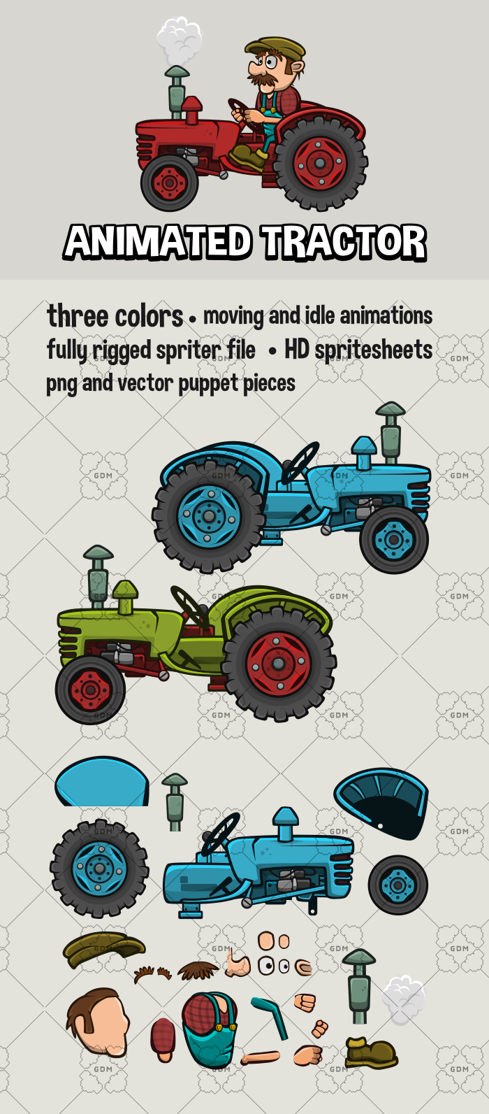 Animated tractor and farmer