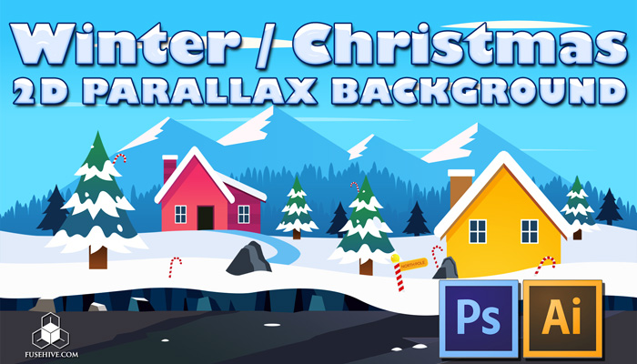Winter / Christmas Town – 2D Cartoon Snowy North Pole Parallax Background