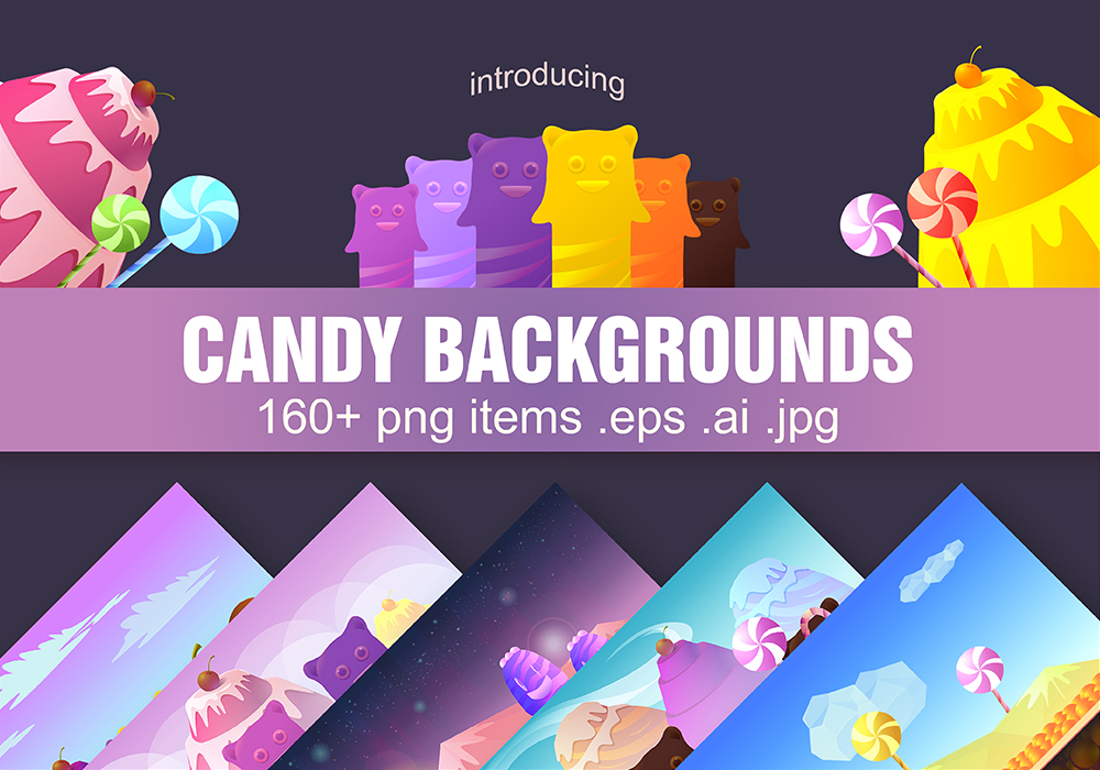 Candy Game Backgrounds Pack