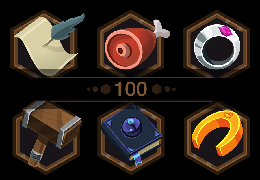 100 RPG Inventory game icons. Vector and PNG Sprites