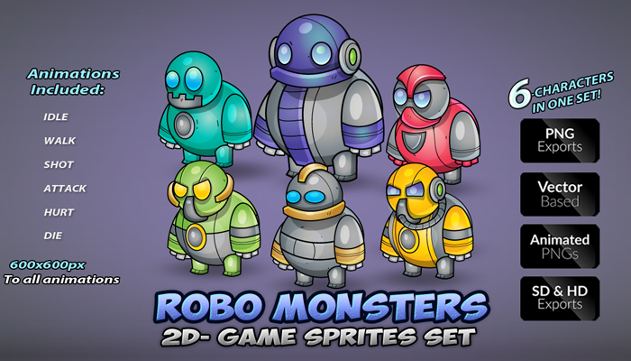 Robo Enemies Game Sprites Set