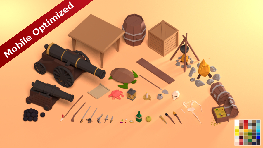Low Poly Pirate Prop Pack