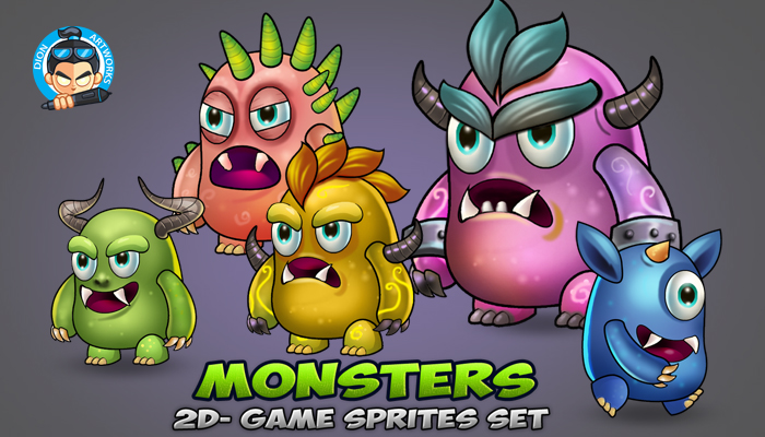 5 Monster Game Enemies Sprites set