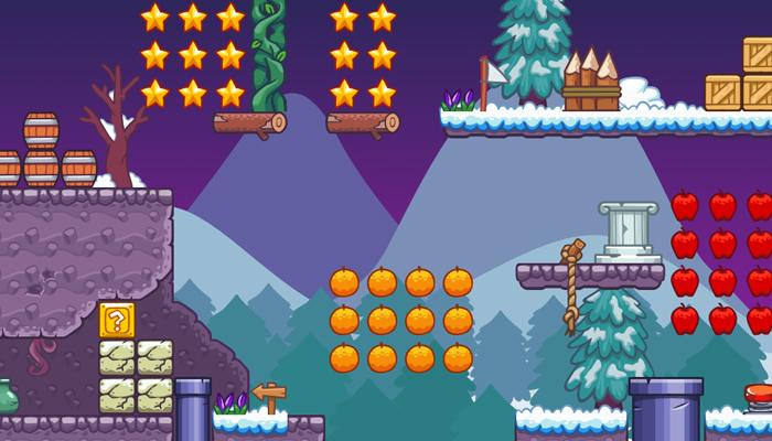 Seamless Snow Platformer Tileset – 2D Game Tileset