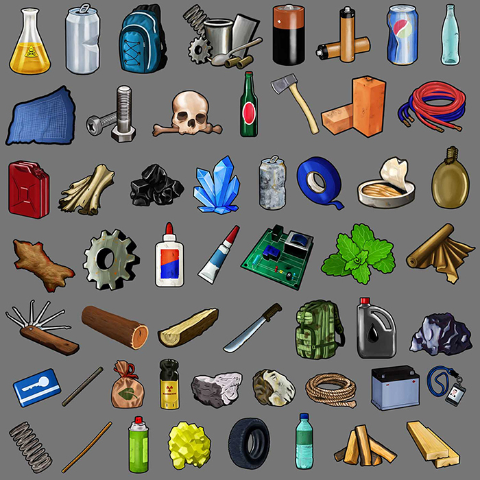 Icons Set of Survival Post Apocalyptic Miscellaneous Items