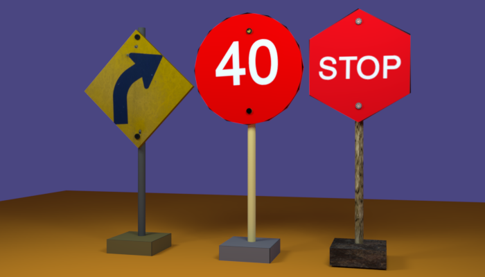 Low Poly Traffic Sign