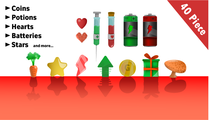 Collectables, Coins, Stars, Potions, Batteries, Hearts, Mushrooms …