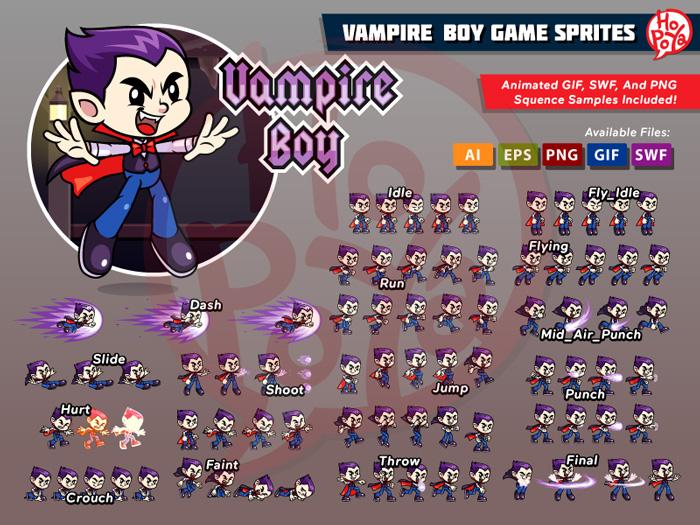 Vampire Boy Game Sprites