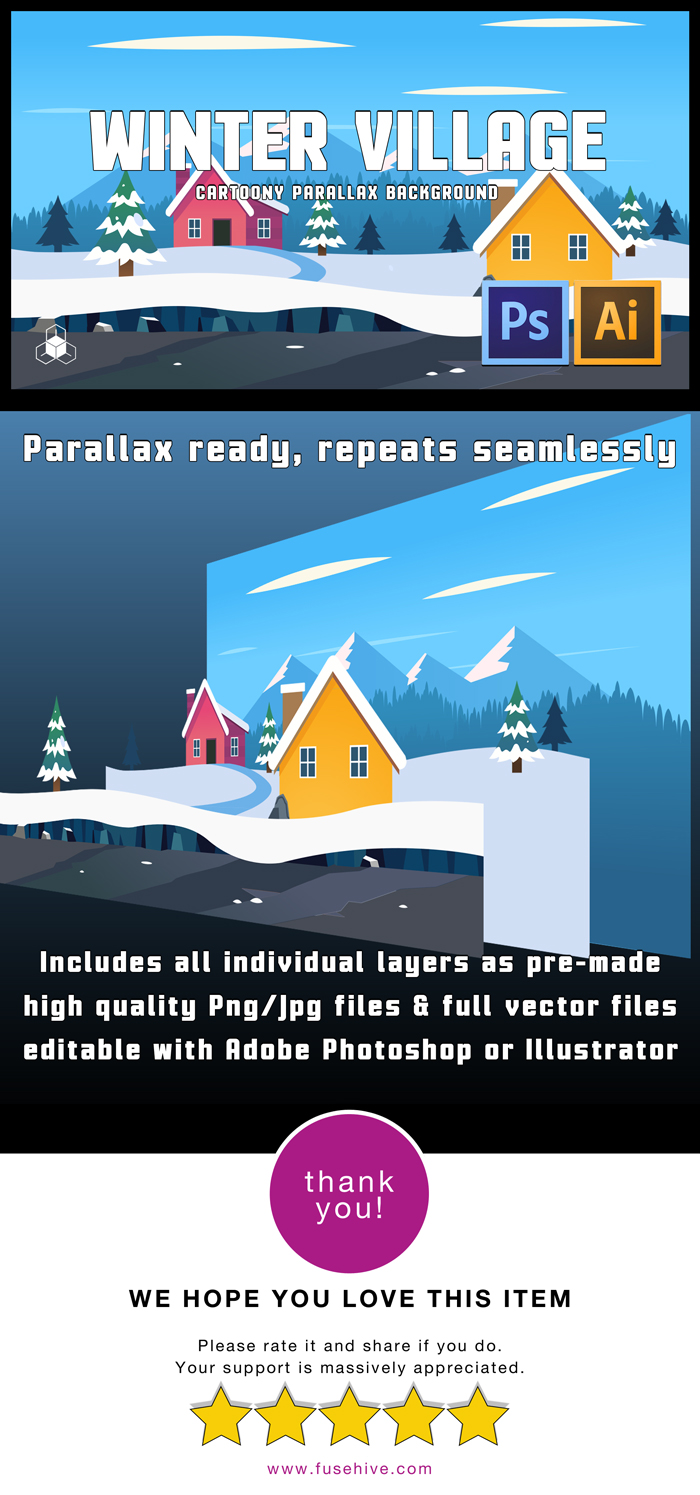 WINTER SNOW MOUNTAIN VILLAGE – 2D Cartoony Parallax Game Background
