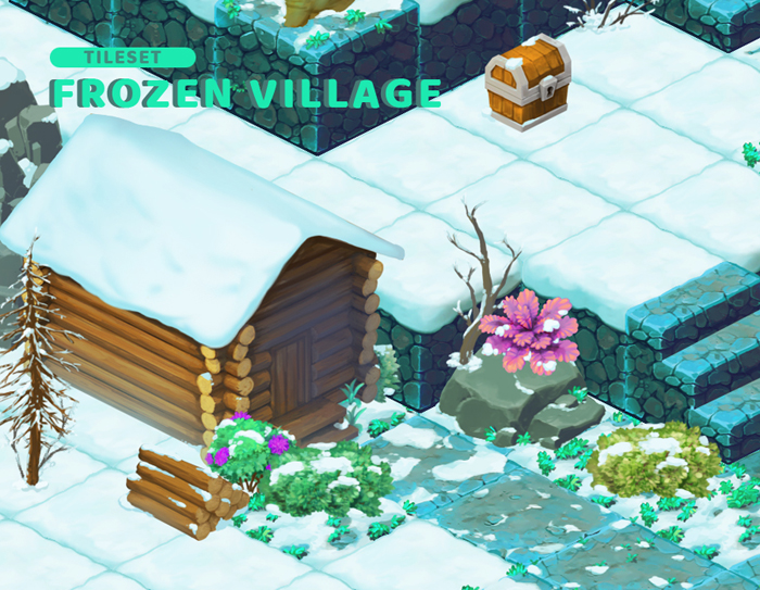 Frozen Village – Isometric Block Tileset