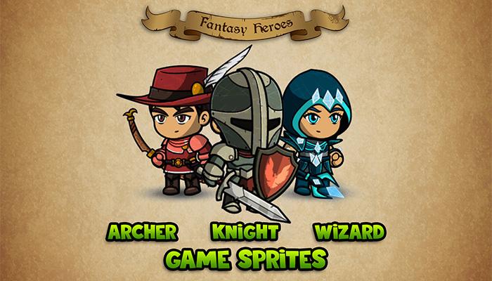 Fantasy Heroes: Character Sprite Sheet