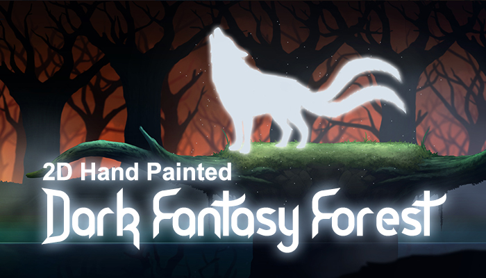 2D Hand Painted-Dark Fantasy forest