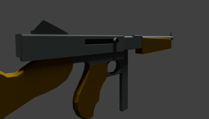 3D Low Poly WW2 M1A1 Thompson