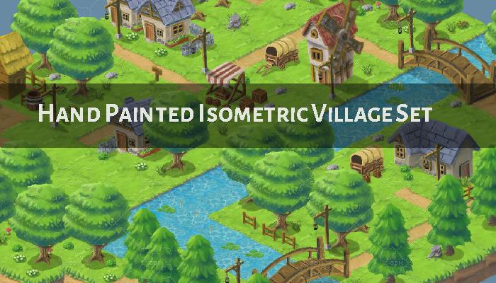 Isometric Small Village Set