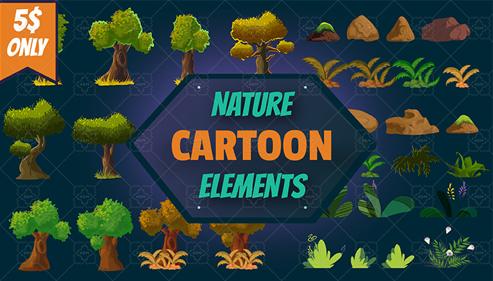 Cartoon Nature Elements Set