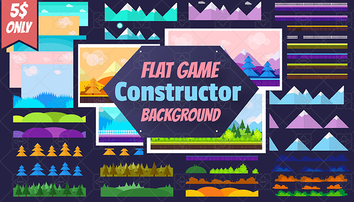 6 Fresh Game Backgrounds and Flat Game Constructor