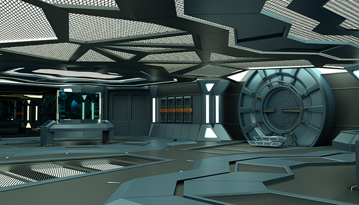 Futuristic spaceship interior.