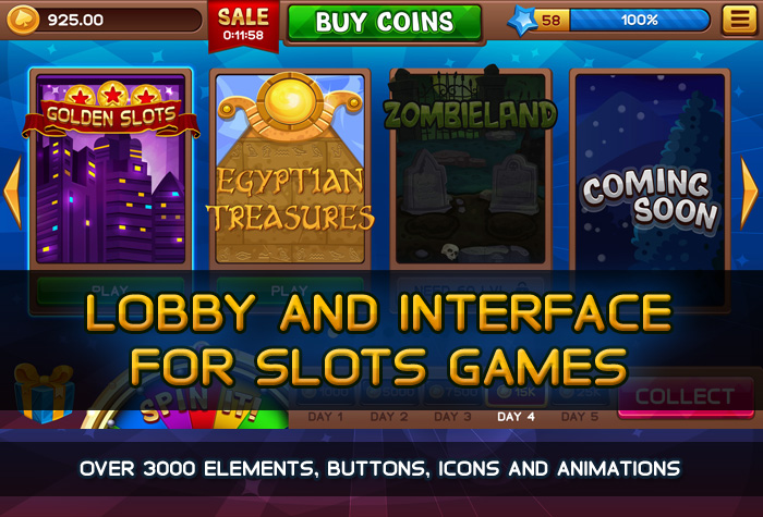 Lobby and GUI for Slots Games