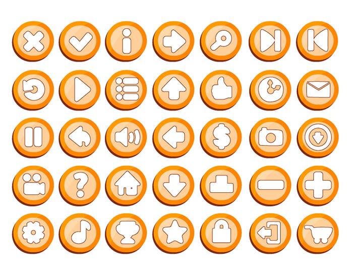 2D game buttons set