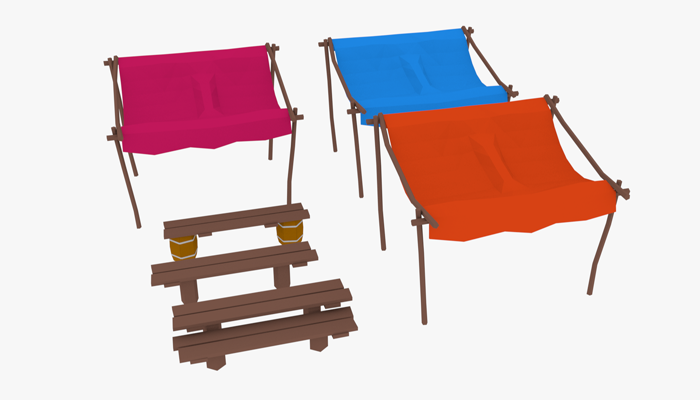 LowPoly Market Stall