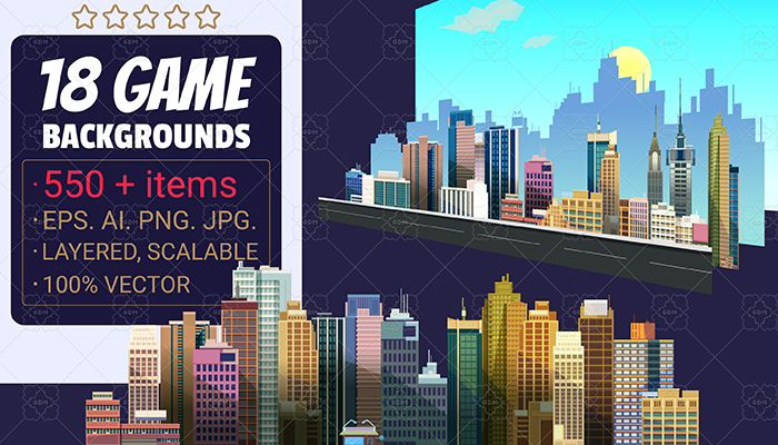 18 City Game Backgrounds Pack