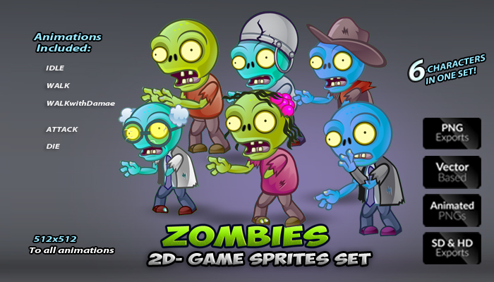 6- Zombies Game Character Sprites Pack