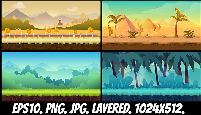 Cartoon Backgrounds Set
